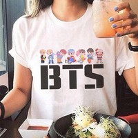 Korean Style Vogue Tee Shirt Femme Kawaii Streetwear Bts Tshirt Acessorios Bt21 Print Plus Size T-shirt White Women Tumblr