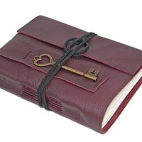 Burgundy Leather Journal with Heart Key Bookmark
