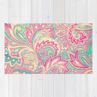 Pink Turquoise Girly Chic Floral Paisley Pattern Rug by Girly Road