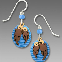 Sienna Sky Earrings - Hand-holding Sea Otters