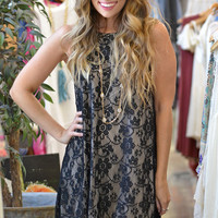 High Neck Lace Dress in Black