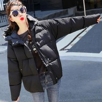 Slim Cotton Solid New Women's Hooded Winter Loose Cotton-padded Jacket Winter Jacket Women