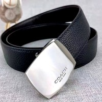 Coach new simple smooth buckle belt