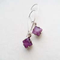 Vintage Earrings Purple Moonglow Square Glass Stones Accessories Gift Idea For Her Under 15 Silver Plated