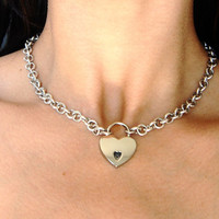 Solid 925 Sterling Silver Cable Chain Locking BDSM Slave Bondage  Day Collar