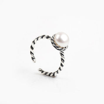 Fresh Water Pearl Sterling Silver Twisted Ring, adjustable / open ring. statement ring. wedding, bridal, bridesmaid, July birthday gift