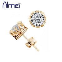 Almei Crown 18k Gold Plated Earrings Women Brincos De Prata Men CZ Diamond Silver White Crystal Jewerly Double Stud Earing Y048
