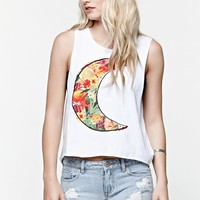 Element Moon Flow Cropped Muscle Tank Top - Womens Tee - White