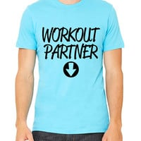 Workout Partner T-Shirt Unisex Women's Pregnancy Pregnant Baby Gym Workout Fitness Funny Funny Muscles