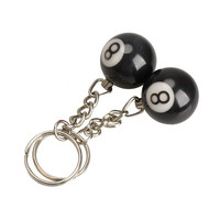 New Fashion 2pcs Billiard Pool Keychain Snooker Table Ball Key Ring Gift Lucky NO.8 NIVE