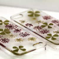 unique iphone 5 case iphone 4 case iphone 4s case Iphone 5s case 5c glitter Dried Dry daisies Pressed Flower Green Clover Real Flower resin