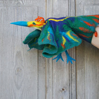 Hand puppet Bird of Paradise, colorful with turquoise beak, felted toy for creative play, eco-friendly, OOAK