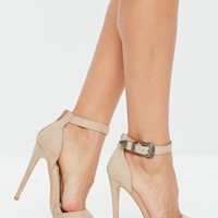 Missguided - Nude Western Buckle Heeled Sandals