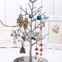 Inviktus Silver Birds Tree Jewelry Stand Display Earring Necklace Holder Organiz...