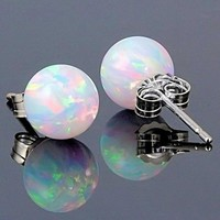 Fashion round white Opal natural stone earrings Round Opals Silver Charming Stud Earrings