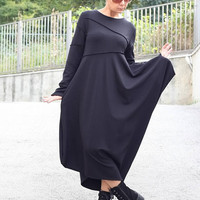 New / Black Winter Dress / Long Sleeves Dress / Side Pockets / Loose Dress / Maxi Dress / Party Dress / Wimen Dresses / Plus Size / D22317