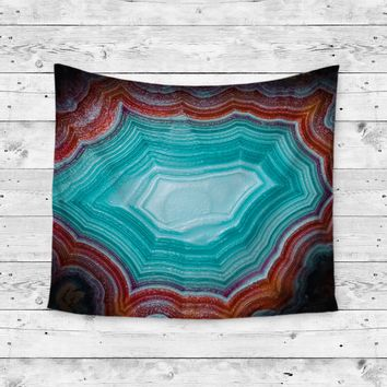 Aqua Teal Agate Marble Stone Wall Tapestry