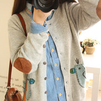 Cute duck thin knitted sweater cardigan for young girl, japanese fashion mori style women sweater