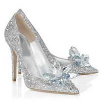 Fashion Online 2016 Sexy Women Silver Rhinestone Wedding Shoes Pumps High Heels Crystal Shoes Artificial Pu Leather Shoes
