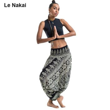 Summer Black Elephants Printed Rayon Yoga Exercise Harem Pants Thai Style Hippies Gypsy Hipster Clothing Unisex In Black White