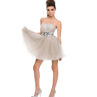 Silver Pleated Chiffon & Beaded Waist Strapless Dress 2015 Prom Dresses