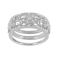 Diamond Flower Engagement Ring Set in Sterling Silver (1/10 Carat T.W.) (White)