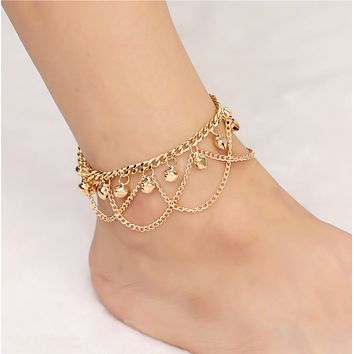 Personality fashion wild bohemian wave tassel bell anklet