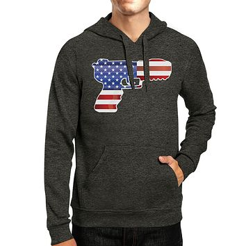 Pistol Shape American Flag Unisex Hoodie For Independence Day