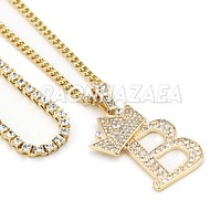 Crown B Initial Pendant Necklace Set