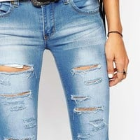Liquor & Poker Low Rise Skinny Jeans With All Over Rips Shredded
