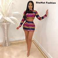 Women Sexy Two Piece Multi-Color Sequined Crop Top Skirt Set