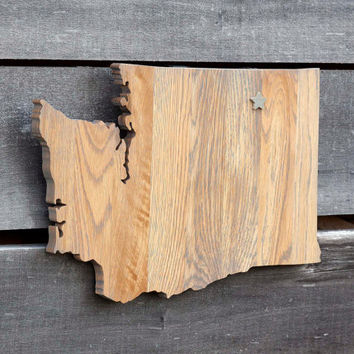 Washington state shape wood cutout sign wall art with star.  Handcrafted, repurposed Oak flooring 12x18 in. Country Cabin Rustic Gift Decor