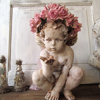 White distressed cherub statue w/ handmade pink rose crown romantic cottage chic angelic figure embellished home decor anita spero design
