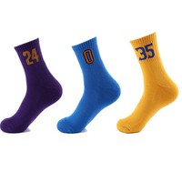 Men's Professional Numbers Sport Socks Breathable High Quality Road Bicycle Socks Outdoor Basketball Football Runningg Socks