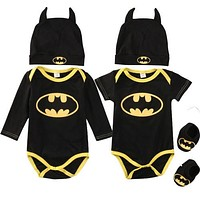 Batman Baby Boys Rompers Jumpsuit Cotton Tops+Shoes+Hat 3Pcs Outfit Clothes Set born Toddler 0-24M Kids Clothes
