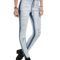Blue Bleached Out Ripped Super Skinny Jeans