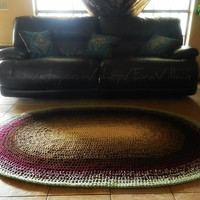 Large Crochet Oval Rug- Ombre Rug- Area Rug -Handmade-Cottage Chic- Oversized- home decor- floor- 4' x 6'