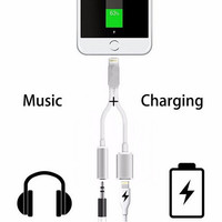 iPhone 7 7Plus & iPhone se 5s 6 6 Plus 2 in 1 Connector Cable Lightning Cable to 3.5 mm Aux Audio Headphone Jack +Gift Box