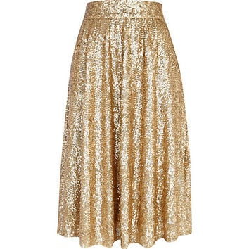 River Island Womens Gold sequin A line midi skirt