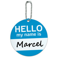 Marcel Hello My Name Is Round ID Card Luggage Tag