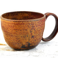 Large Coffee Cup Soup Mug Ceramic Handmade Pottery Rustic Speckled Red Brown Orange Tea Cup by Dawn Whitehand on Etsy - Gift for Him