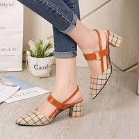 Lady Shoes New Hollow Coarse Sandals High-heeled Shallow Mouth Pointed Pumps Work Women Female Sexy High Heels