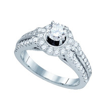 Diamond Bridal Ring with 0.50ct Center Round Stone in 14k White Gold 1.24 ctw