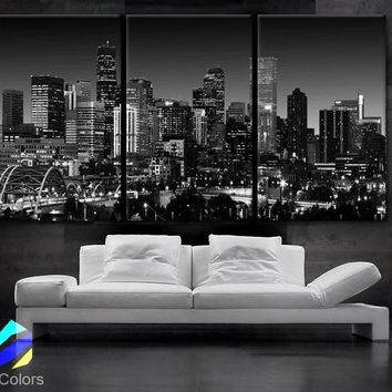 "LARGE 30""x 60"" 3 Panels Art Canvas Print Beautiful Denver Colorado skyline at night light buildings Wall Home (Included framed 1.5"" depth)"
