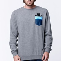 Grizzly Fire TD Pocket Bear Crew Neck Sweatshirt - Mens Hoodie - Grey