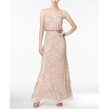 Adrianna Papell Art Deco Blouson Beaded Gown, Blush/Gold, Size: 16