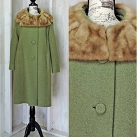 Beautiful Vintage 50s wool coat with fur collar / M / L / Mid century swing coat / ecru wool coat /  Steven Hockanum Topaz for Mary Lane