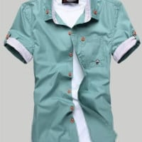 Modern Man Short Sleeve Pocket Green Shirt [10312515907]