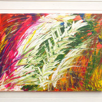 Original Large XL Abstract Art Painting Jungle Fever Acrylic on Stretched Canvas Frame