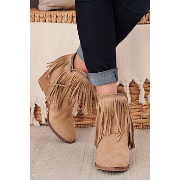 IMPERFECT Old Town West Fringe Booties (Taupe)